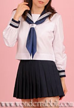 画像1: 夏用セーラー服上下セット(長袖)