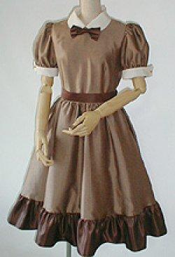画像1: シャンタンふりふりワンピースドレス(半袖パフ)