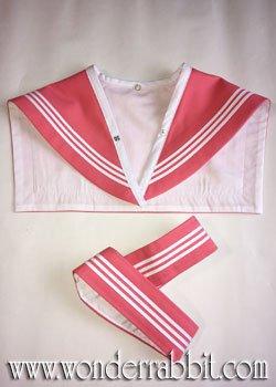 画像1: カラフル衿袖パーツ(白3本ライン)衿袖が揃ったもの